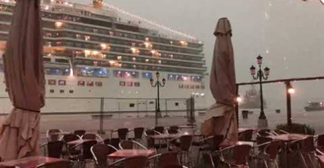 Climate protest activists target the Venice Film Festival, Italy, citing large cruiseships (for example above in July) damage the environment