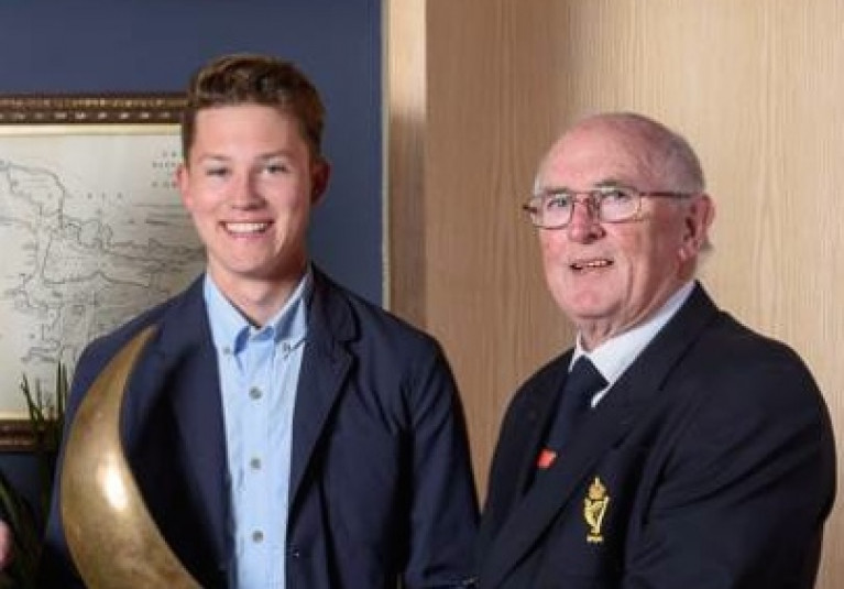 Leading his club to two years of success: 2018-2019 RCYC Admiral Pat Farnan with Atlee Kohl RCYC, All-Ireland Junior Champion 2018. Photo Bob Bateman