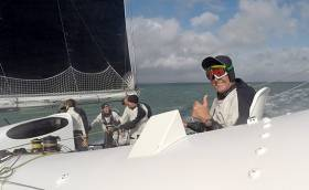 Brian Thompson on board Phaedo 3 for the Round the Isle of Wight Record run