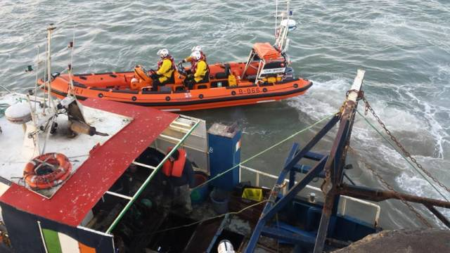 The Skerries inshore lifeboat escorts the stricken fishing vessel to Skerries Harbour