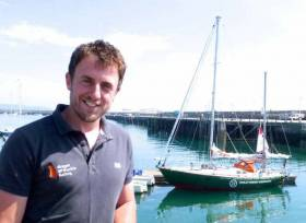 Irish Golden Globe Race skipper Gregor McGuckin and his yacht Hanley Energy Endurance at the National Yacht Club prior to departure