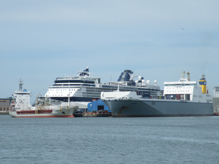 Webinar: The Future of Motorways of the Sea (MoS) is to be held on 1 July. Above AFLOAT's photo shows a diversity of ship types berthed in Dublin Port. From the left is a cement-carrier, cruise ship and con-ro vessel which connected Ireland and mainland Europe.