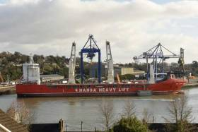 Heavy lift operations at Cork Dockyard involve the loading of cargo onto the vessel 'HHL Lagos'