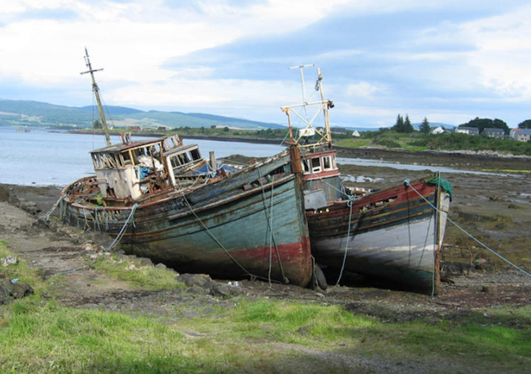 Abandoned fishing boats at Salen on the Isle of Mull