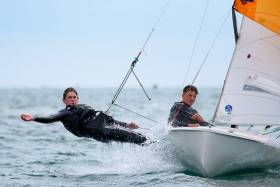 A 420 dinghy competing in Royal Cork Yacht club's 'At Home' Regatta. Scroll dow for Photo Gallery