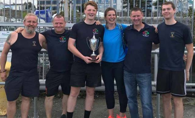 St. Michael's Mens 1 crew pictured with their trophy in Dun Laoghaire. Six crews from four east coast rowing clubs competed in this year's race