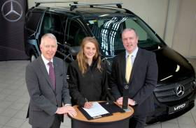 Aoife Hopkins at the announcement of her partnership with Mercedes-Benz, with chief executive Stephen Byrne and commercial vehicles sales manager Fergus Conheady