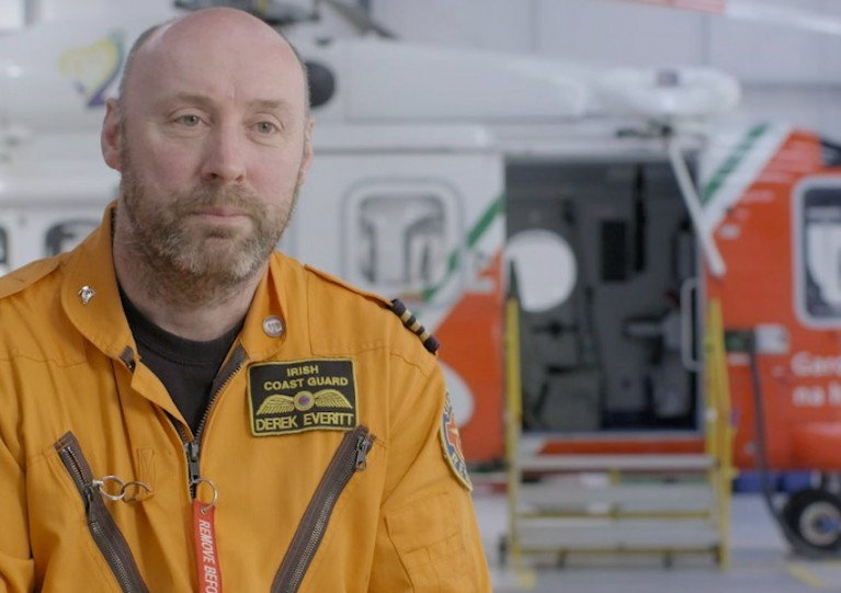Rescue 116 winchman Derek Everitt in a still from a short film by Vertical Magazine last October