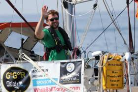 Gregor McGuckin pictured shortly after the start of the Golden Globe Race last July. His yacht is now the subject of a salvage attempt off the coast of Australia.