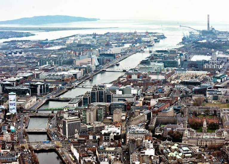 The city of river and sea. Modern Dublin and its port looking eastward