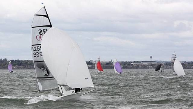 Ballyholme Yacht Club RS400 Winners Gareth Flanagan and David Fletcher blasting along on Dublin Bay
