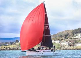"The J97 ""Windjammer"" (Denis Power & Lindsay Casey) was first in IRC 2, completing a win in all three IRC classes and the overall ISORA race for North Sails–powered boats"