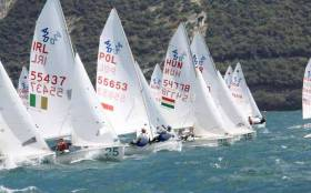 Irish sailors competing in the 420 class at Lake Garda, Italy this Summer