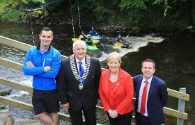 White water Opportuntites on the Shannon Erne Blueway with members of Cavan Canoe Club and Karl Henry, Cathoirleach Paddy Smith, Minister Heather Humphreys and Garret Mc Grath Waterways Ireland