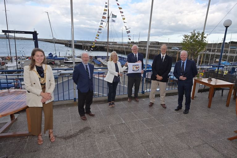 Dun Laoghaire Rathdown Council Caothaoirleach Una Power with Dun Laoghaire Harbour Yacht Club Commodore's celebrating National YC 150th Race Day