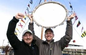 Double success. Michael O'Connor (right) is Sailor of the Month (Senior) for October after helming to victory in Flying Fifteens in the All-Ireland Championship at the NYC, while his crew for the championship, David Taylor (left) is October Sailor of the Month (Special Award) as he also crewed for Ben Duncan when he won the title in 2013 in ISA J/80s.
