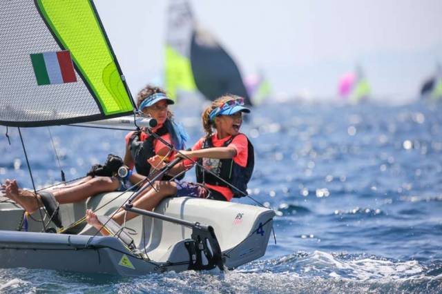 An Italian pairing compete at the RS Feva Worlds in Follonica, Italy this week