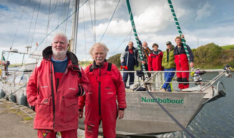 Men of the High Latitudes – Jarlath Cunnane and Mick Brogan with Northabout at Westport Quay in their return from circling the Arctic. Their current mission is ensuring proper recognition for Antarctic explorer Ernest Shackleton's Scottish ship's carpenter Harry McNish