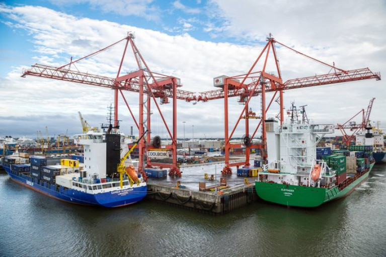 Containerships berthed at Dublin Port