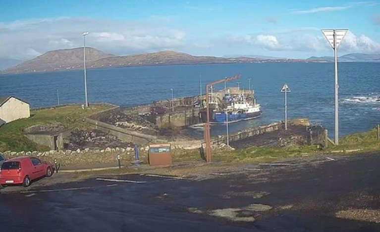 Roonagh Pier in Co.Mayo which is to receive works and as AFLOAT adds is where ferry and freight services connect Clare and Inisturk islands. The ferry Clew Bay Queen is berthed along the pier.