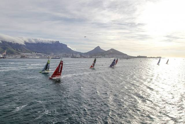 The fleet in the most recent edition of the VOR sails out of Cape Town on 19 November 2014