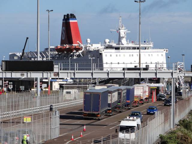 Stena Europe berthed in Fishguard Harbour, south Wales