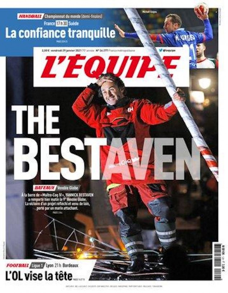 L'Équipe, the French nationwide daily newspaper devoted to sport, features Vendee Globe winner Yannick Bestaven (and his Dubarry boots) on its front cover