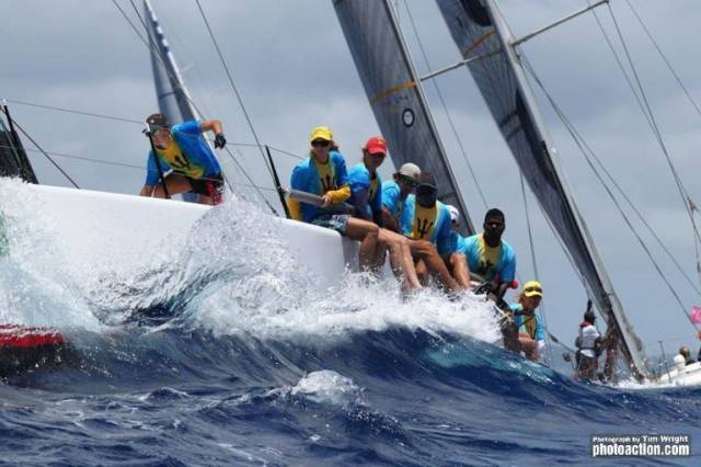 Bow Pamela Lee (left) onboard TP52 Conviction at Antigua Week