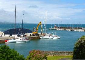 Wicklow Harbour, a busy and colourful place on the morning of the Round Ireland start