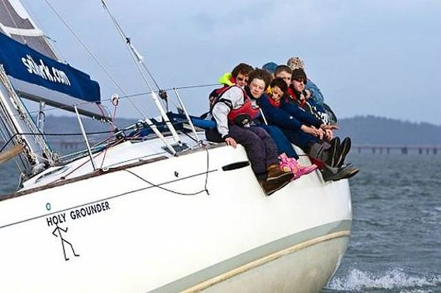 Getting them introduced to sailing – junior wannabee sailors aboard SailCork's First 36.7 Holy Grounder