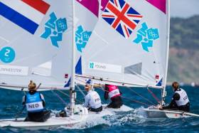 GB's Alison Young on the stern of Ireland's Annalise Murphy at the London 2012 Olympic Regatta