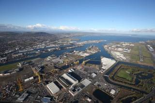 An overall view of the extensive Harland & Wolff shipyard located in the east of Belfast Harbour