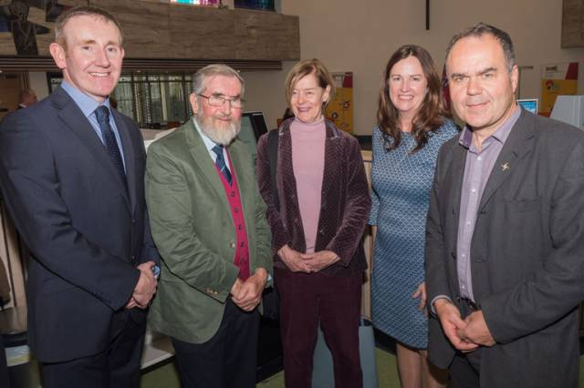 Brian O'Gorman, Kildare County Council; guest visitor, John Dudeney; The Hon. Alexandra Shackleton, grand daughter of Ernest Shackleton; Aine Mangan, CEO Kildare Fáilte; and Kevin Kenny, Shackleton Autumn School Committee pictured in Athy Library at the Council's Welcome Reception for visitors to the 2018 Shackleton Autumn School