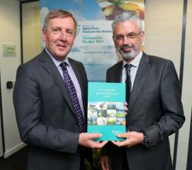 Marine Minister Michael Creed with his department's secretary general Aidan O'Driscoll launching this year's Annual Review and Outlook