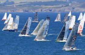 The Sunday morning start for the Mini Fastnet fleet at Douarnenez. An upper limit of 70 had been set on entries, but during the final prep days, the numbers were shaken down to 62 boats