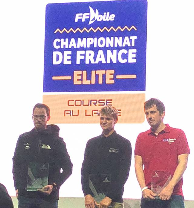 Solemn moment…..Ireland's Tom Dolan (right) looking unusually serious as he is honoured for his third place in the rookie division in the French Offshore Championship at the Paris Boat Show