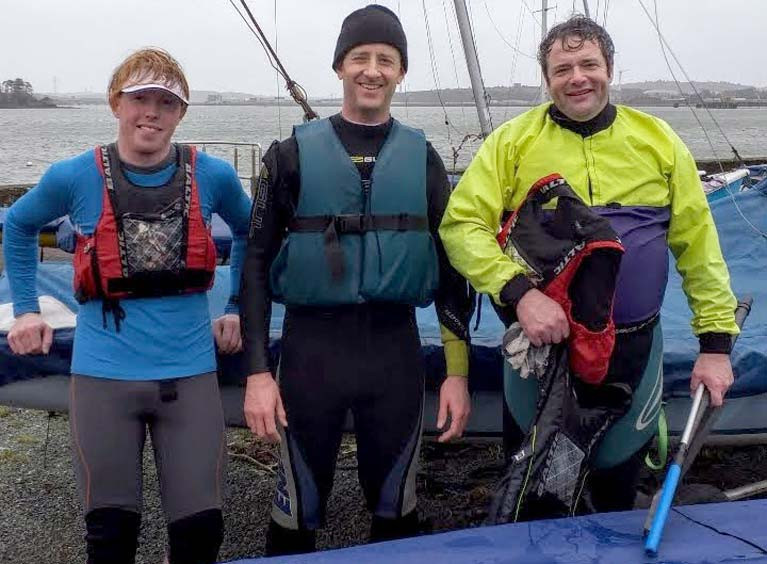 Three of the six sailors that braved the storm. Left to right- Article author Chris Bateman, Arthur O'Connor, Robin Bateman. Out of picture- Barry O'Connor, James Long, Ronan Kenneally.