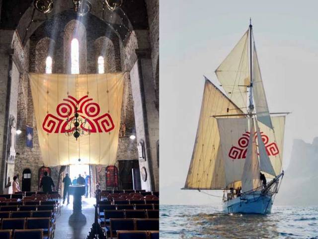 Symbolic link – Ilen's squaresail with the distinctive Salmons Wake logo on display in St Mary's Cathedral in Limerick during the Spring, and in use off the coast of Greenland this summer as the ship continues her mission in researching the Atlantic salmon story, and developing cultural links between Limerick and the Greenland capital of Nuuk