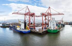 Containerships docked in Ireland's largest port, Dublin where annual volumes of goods is expected to rise to 77.2 million tonnes by 2040. Afloat adds the containerships are docked at the DFT Terminal, one of three Lo-Lo facilities located in the port estate.