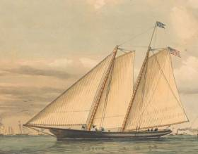 The essence of effective simplicity – the schooner America as she was in 1851, when her victory in the race round the Isle of Wight resulted in the trophy becoming the America's Cup.