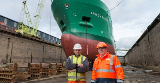 Arklow Raider was a typical short-sea trader to use Dublin dry dock that closed last year but was reopened on a once-off basis to facilitate tallship Jeanie Johnston earlier this year. The Arklow Raider underwent work at the recently refurbished Swansea Drydocks Ltd having been taken over. On the left is Garth Masterson, General Manager, SDL and Callum Couper, Port Manager, ABP South Wales.