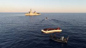 At the scene of the rescue operation, LE Eithne off the coast of Libya