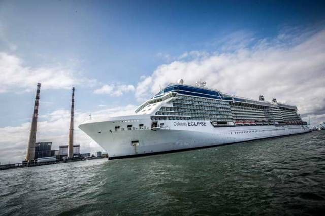 Celebrity Eclipse arriving into Dublin Port. The 2,850 guest Celebrity Eclipse arrived in Dublin to become the first ever cruise  ship to be based from the port in 2018