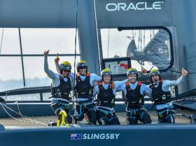 Australia SailGP Team celebrate their win in the home water's of Sydney Harbour on the first stop of the inaugural race series