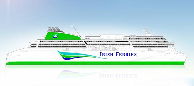 Side elevation of the proposed new cruise ferry commissioned by Irish Continental Group which is scheduled for delivery in May 2018 for operation on routes between Ireland, UK and France. The 50,000 tonnes vessel, which is being built in Germany at a contract price of €144 million, will accommodate 1,885 passengers and crew. It will have 435 cabins, 2,800 lane metres of freight vehicle space with room for 165 freight vehicles and an additional dedicated car deck with capacity for 300 passenger cars.