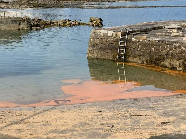 Residue from what DLRCoCo has now confirmed as a bloom of Noctiluca scintillans washes up at Sandycove on Tuesday morning 25 June