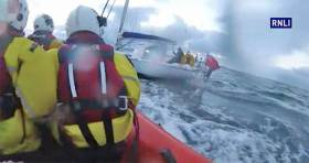 Bangor's inshore lifeboat escorts the yacht from Girvan into Bangor Marina on Monday 10 April