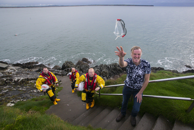 Michael Power and Crew (L-R Michael Power, Tramore RNLI Helm David McGrath, Tramore RNLI Crew Alec Fitzmaurice and Tramore RNLI Helm Fergal McGrath)