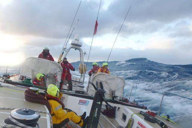 The Clipper teams battled to reduce sail plans when the storm hit