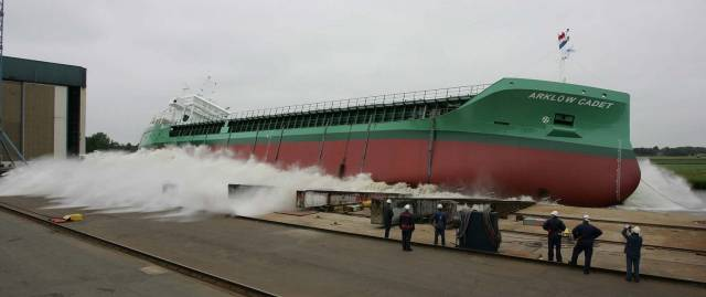 Sister of Arklow Cape, the 5,000dwt Arklow Cadet is the leadship of 10 newbuilds on order, at her launch in June